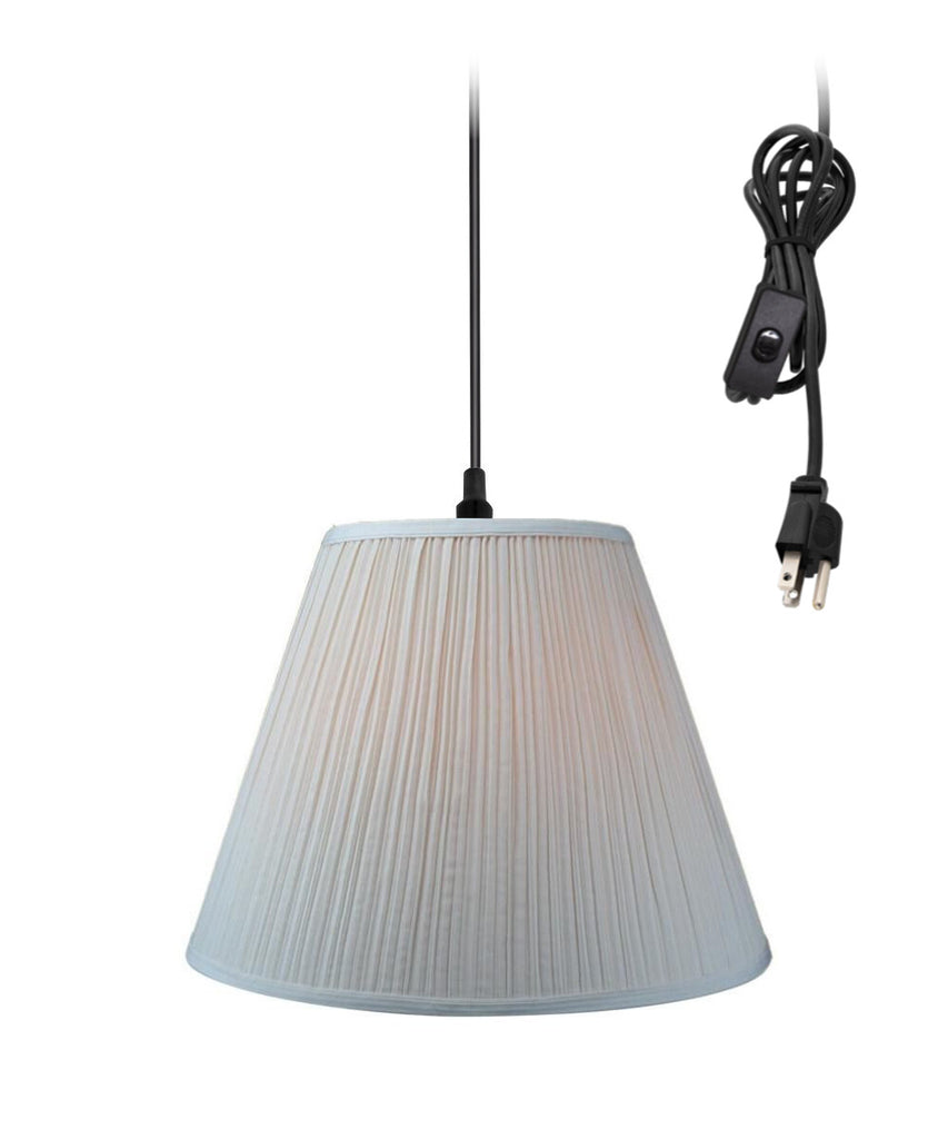 Hanging Swag Pendant Plug-In One Light Eggshell Shade