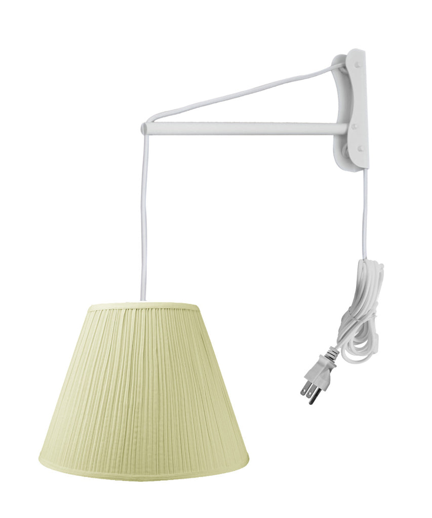 MAST Plug-In Wall Mount Pendant, 1 Light White Cord/Arm, Eggshell Shade 08x16x12