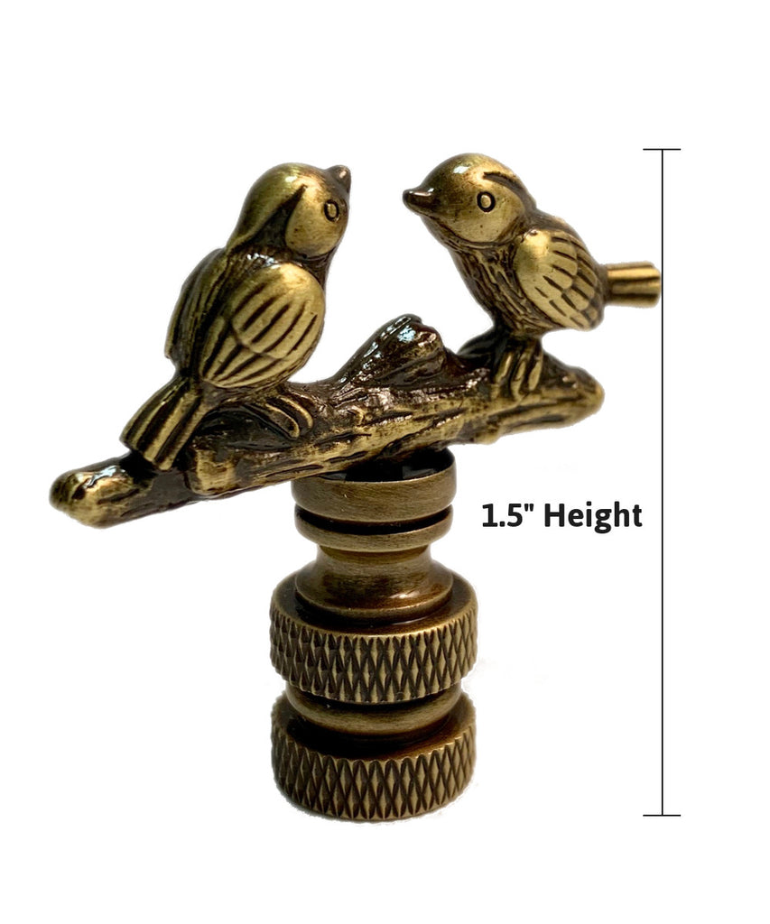 "0-000308>Songbirds Lamp Finial Antique Brass Metal 1.75""h"