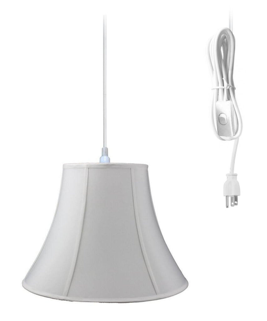 0-000296>1-Light Plug In Swag Pendant Lamp White Shade