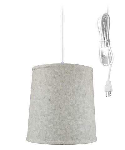 Textured Oatmeal Shantung 1 Light Swag Plug-In Pendant Hanging Lamp