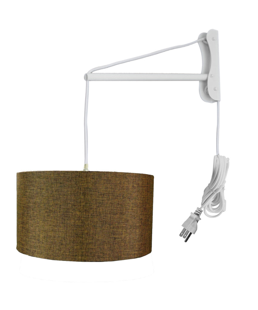 MAST Plug-In Wall Mount Pendant, 1 Light White Cord/Arm, Chocolate Burlap Shade 18x18x10