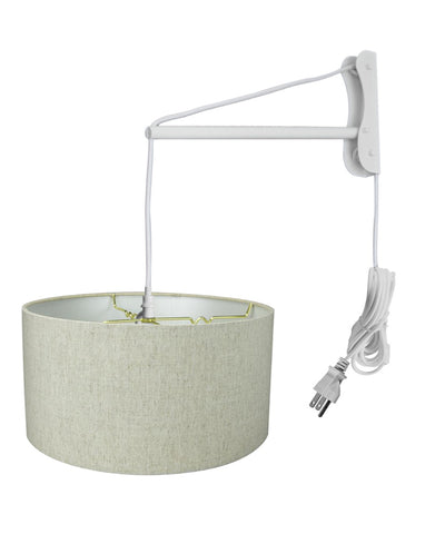 MAST Plug-In Wall Mount Pendant, 2 Light White Cord/Arm with Diffuser, Textured Oatmeal Shade 18x18x10
