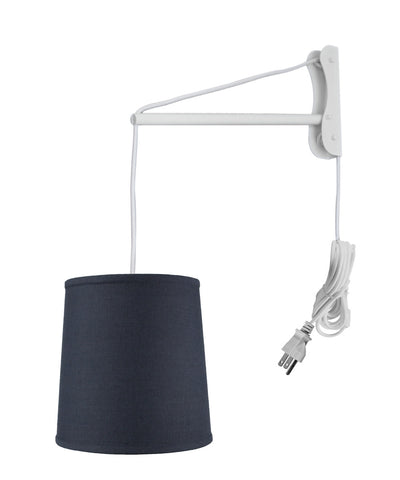 MAST Plug-In Wall Mount Pendant, 1 Light White Cord/Arm, Textured Slate Blue Linen Shade 10x12x12
