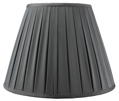 0-000308>9x16x12 Empire Pleated Lampshade Black Fabric