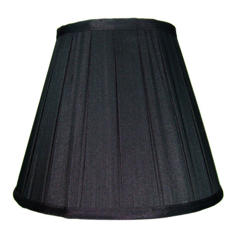 0-009203>5x10x8 Empire Box Pleat Black Shantung Fabric with Gold Liner