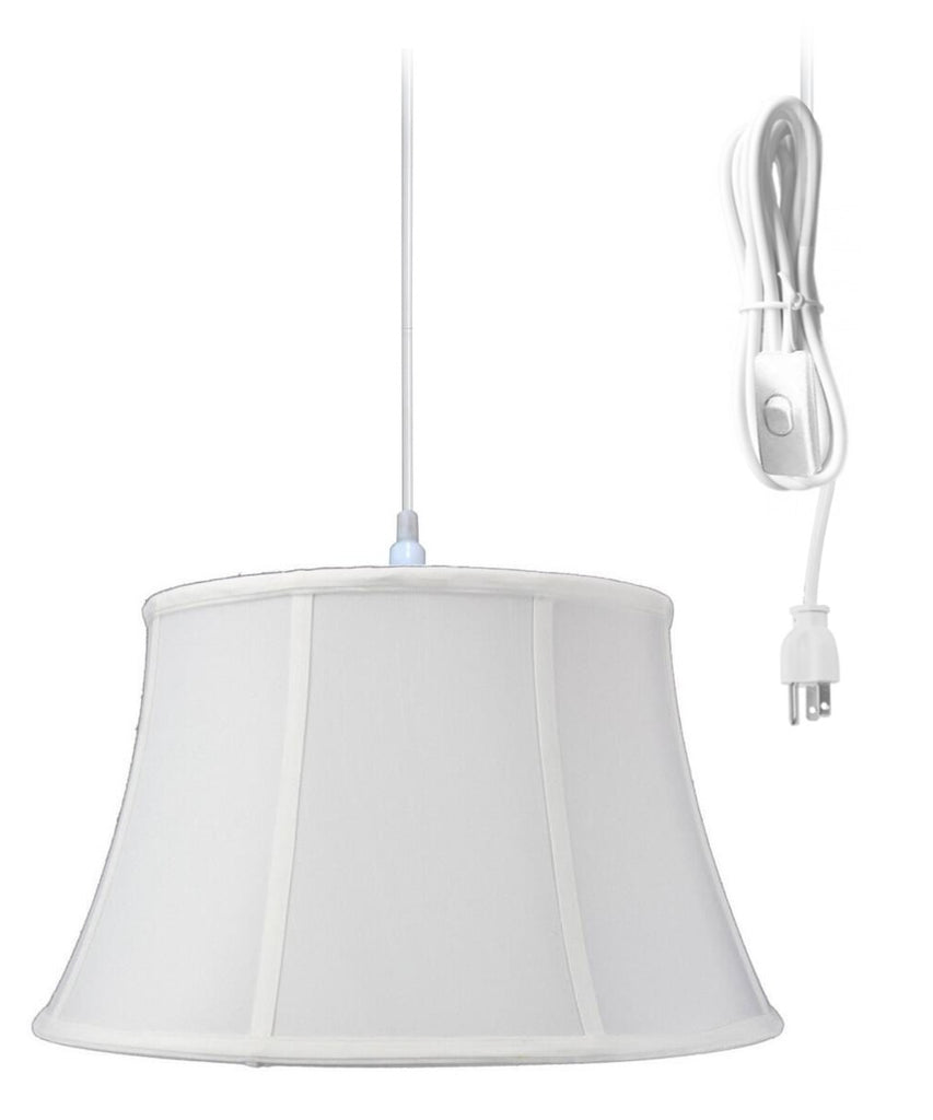 0-000099>1-Light Plug In Swag Pendant Ceiling Light White Shade