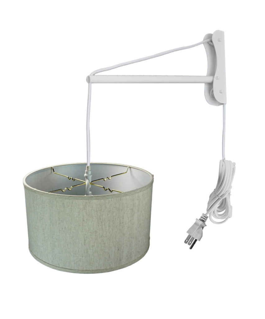 0-003121>MAST Plug-In Wall Mount Pendant, 1 Light White Cord/Arm, Textured Oatmeal Shade 18x18x10
