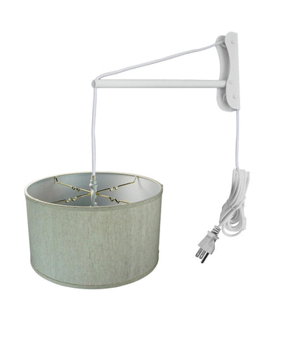 MAST Plug-In Wall Mount Pendant, 1 Light White Cord/Arm, Textured Oatmeal Shade 18x18x10