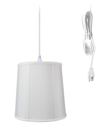 0-000488>1-Light Plug In Swag Pendant Lamp White Shade