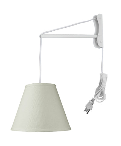 MAST Plug-In Wall Mount Pendant, 1 Light White Cord/Arm, Light Oatmeal Shade 06x12x09