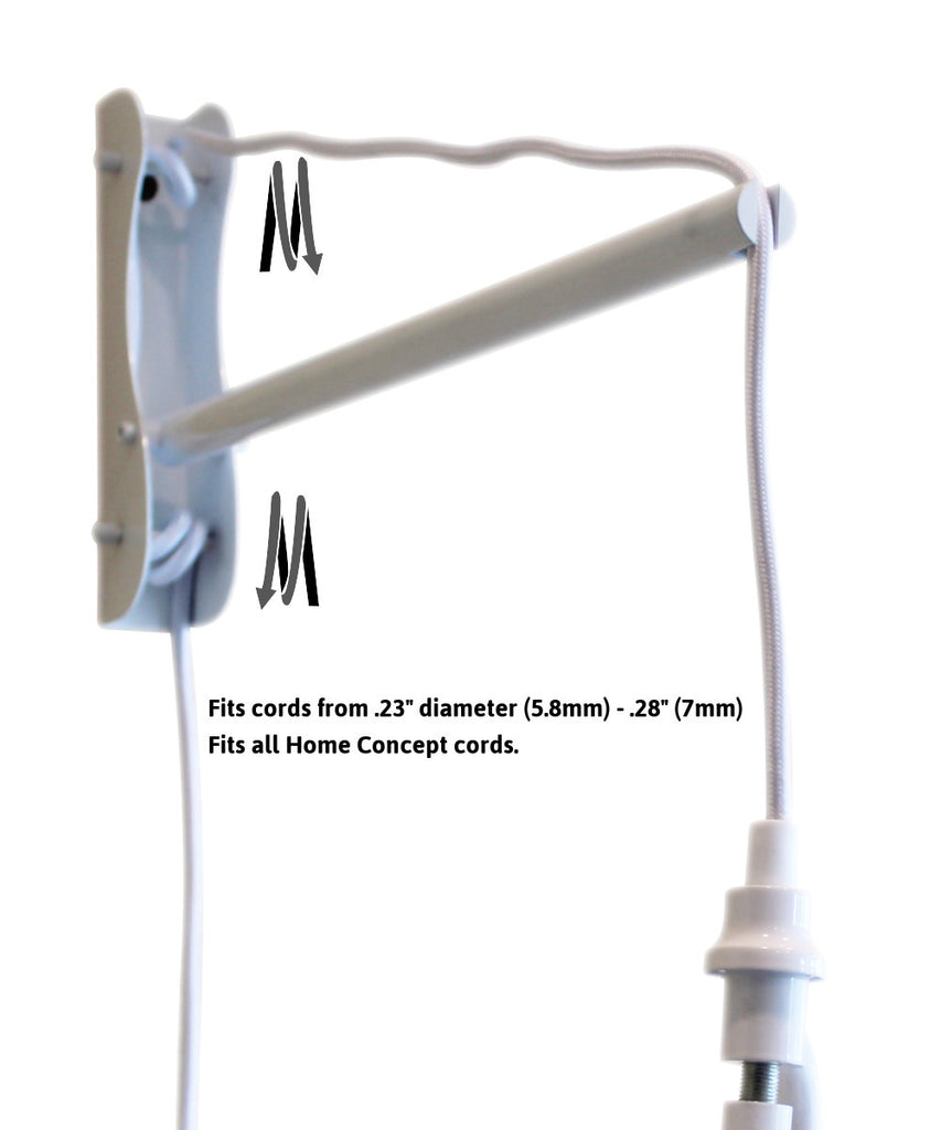 0-002424>MAST Plug-In Wall Mount Pendant, 1 Light White Cord/Arm, Gray Shade 09x16x12