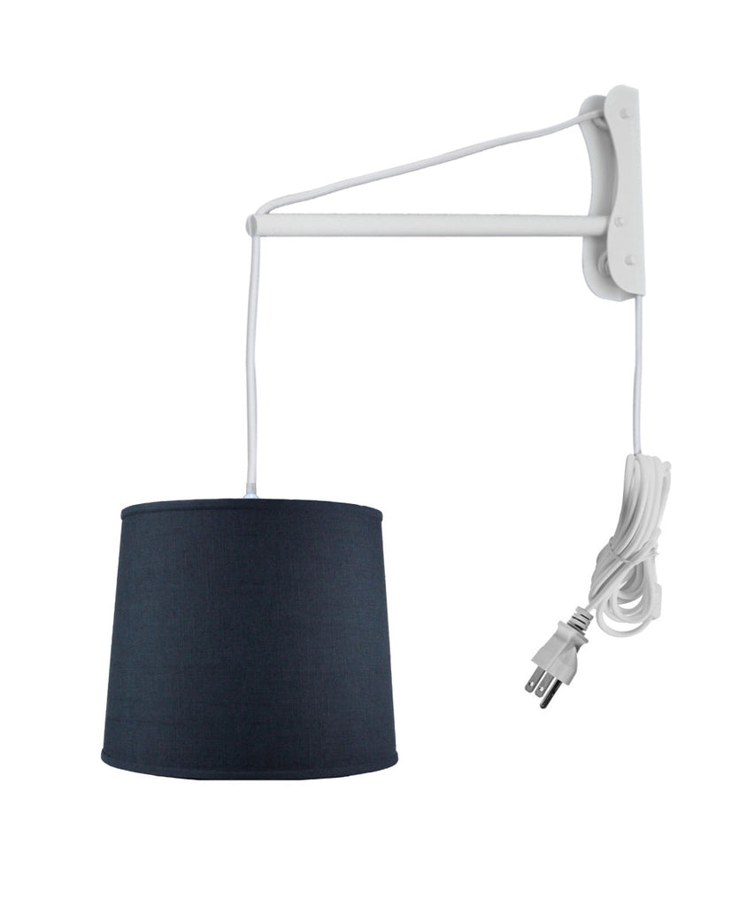 MAST Plug-In Wall Mount Pendant, 1 Light White Cord/Arm, Textured Slate Blue Shade 12x14x10