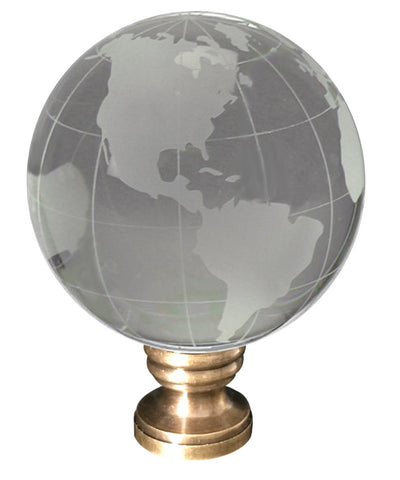 "0-003169>Frosted Crystal Clear Globe Earth Lamp Finial Antiqued Brass Base 3""h"