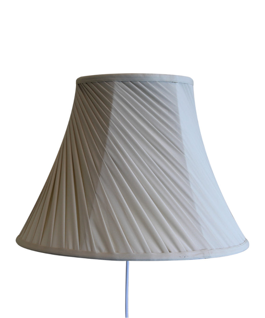 Floating Shade Plug-In Wall Light Eggshell Silk Fabric Twist 8x16x12
