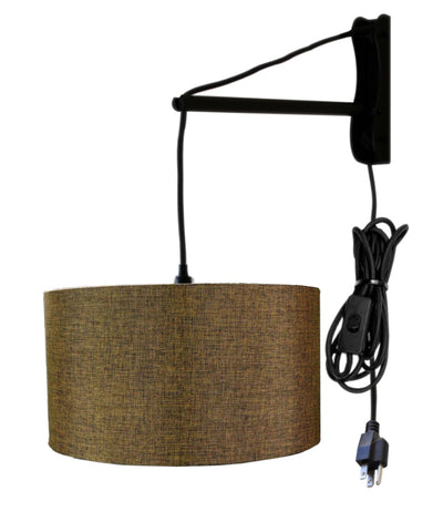 MAST Plug-In Wall Mount Pendant, 1 Light Black Cord/Arm, Chocolate Burlap Hardback Drum Shade 14x14x07