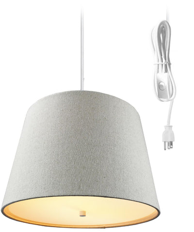 0-002074>Sand Linen  2 Light Swag Plug-In Pendant with Diffuser