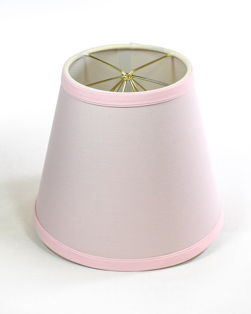 0-000066>5x8x7 Empire Linen Edison Clip On Lamp Shade Pale Dogwood Pink