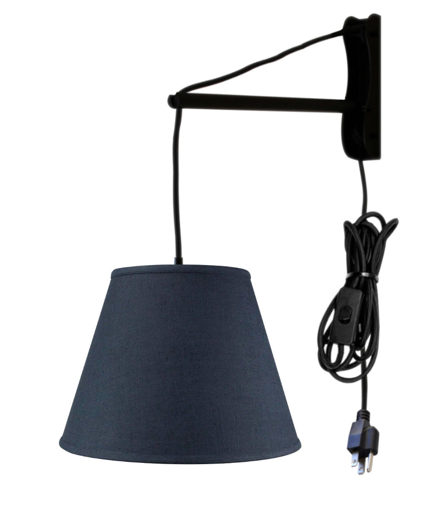 MAST Plug-In Wall Mount Pendant, 1 Light Black Cord/Arm, Textured Slate Blue Shade 09x16x12