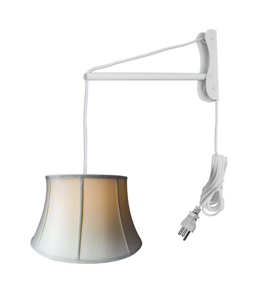MAST Plug-In Wall Mount Pendant, 2 Light White Cord/Arm with Diffuser, Egg Shell Shade 13x19x11