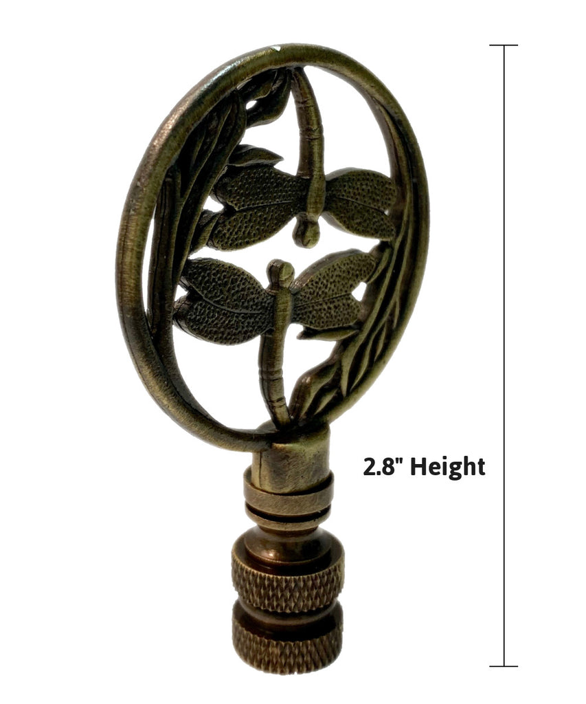 "Double Dragonfly Lamp Finial Antique Brass 2.8""h"