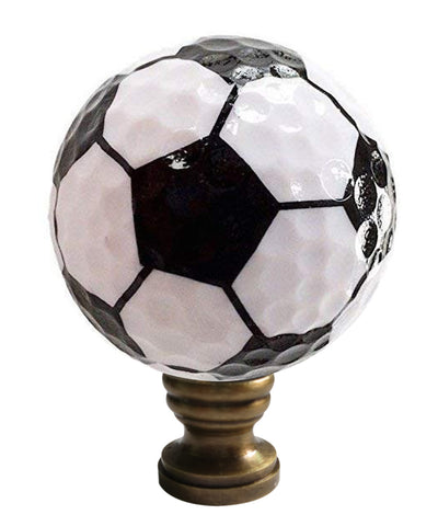 "0-009299>Soccer Ball Lamp Finial, Black and White Pentagon Pattern, 2.25""h"