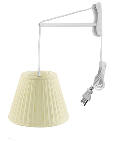 0-001200>MAST Plug-In Wall Mount Pendant, 2 Light White Cord/Arm with Diffuser, Empire Box Pleat Egg Shell Shade 11x18x13