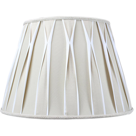 0-000973>10x16x11 Beige/White Pinched Pleat Shantung Lampshade
