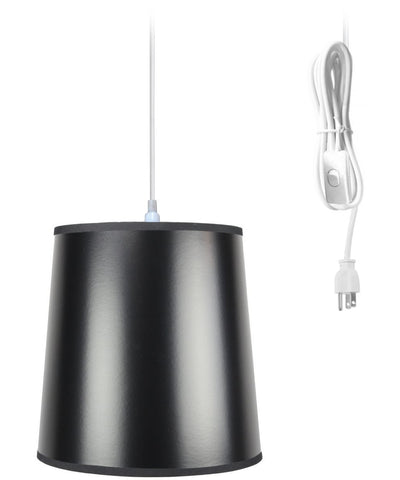 0-001213>1-Light Plug In Swag Pendant Lamp Black/Gold Shade