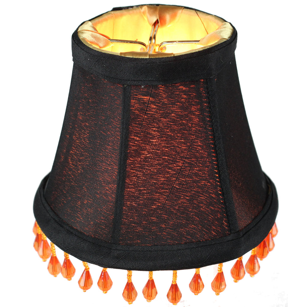 0-003498>3x5x4 Candelabra Stretch with Gold Liner Amber Beads Clip-On Lampshade