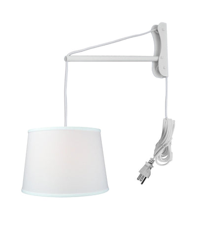 MAST Plug-In Wall Mount Pendant, 2 Light White Cord/Arm with Diffuser, White Shade 13x16x11