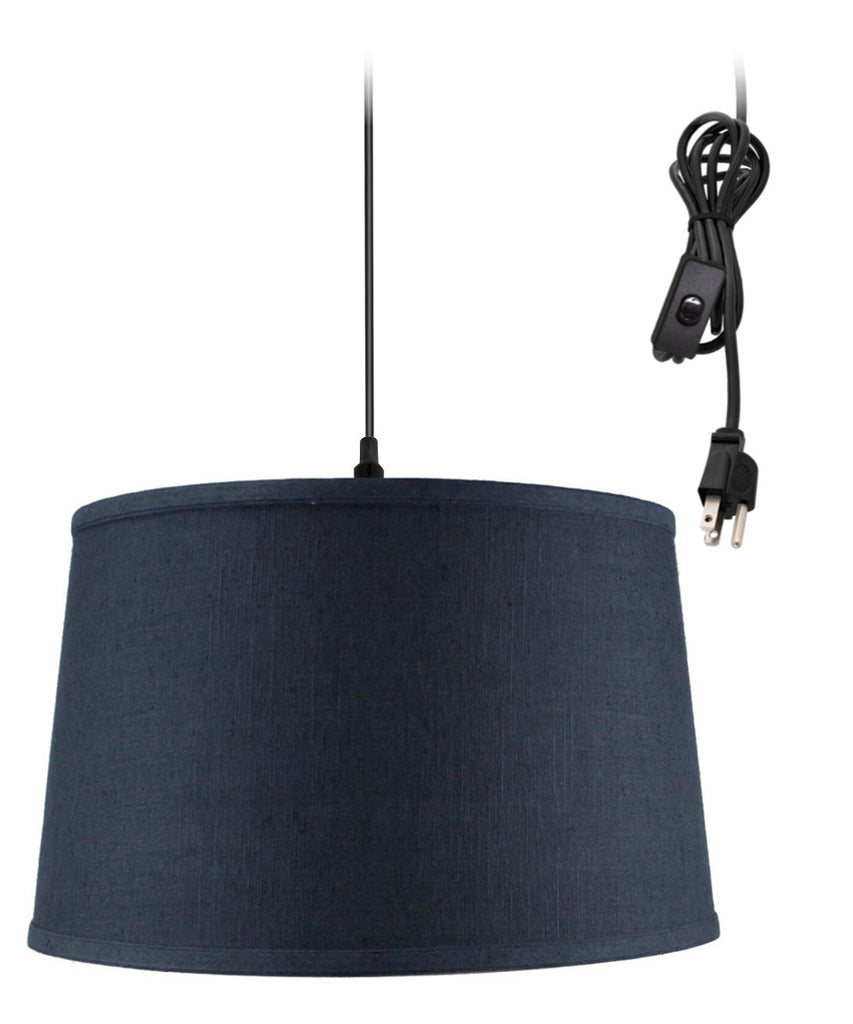 0-002000>Shallow Drum 1 Light Swag Plug-In Pendant Hanging Lamp Textured Slate Blue