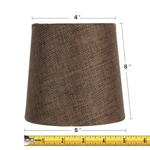 0-001189>5x6x5 Chocolate Burlap Drum Chandelier Clip-On Lampshade