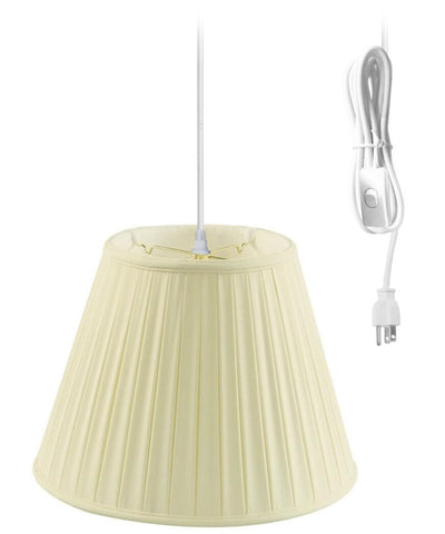 0-021953>1-Light Plug In Swag Pendant Ceiling Light Eggshell Shade
