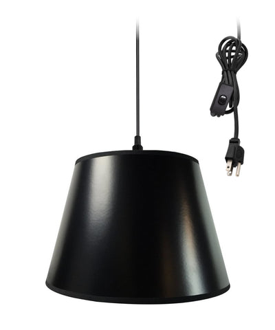 0-002000>Hanging Swag Pendant Plug-In One Light Black/Gold Shade