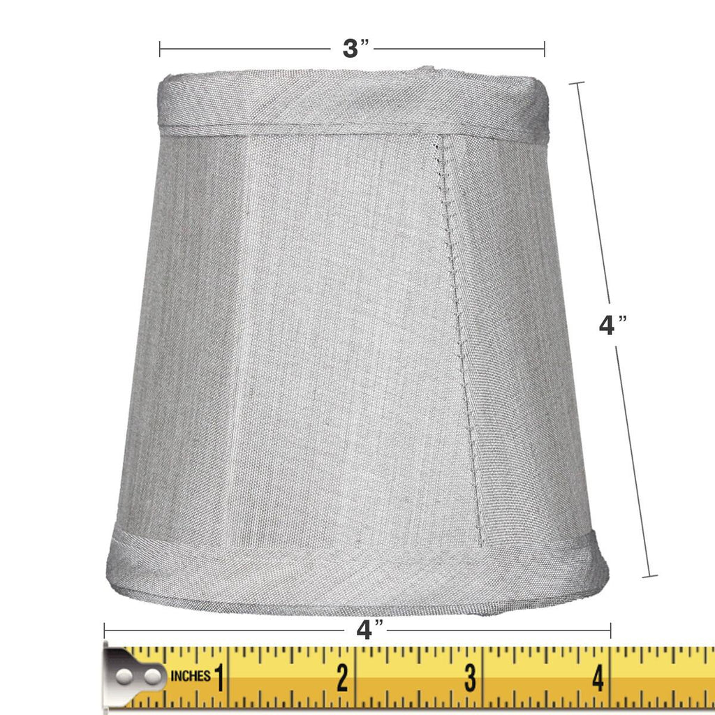0-000758>3x4x4 Gray Stretch Clip-On Candlelabra Clip-On Lamp shade