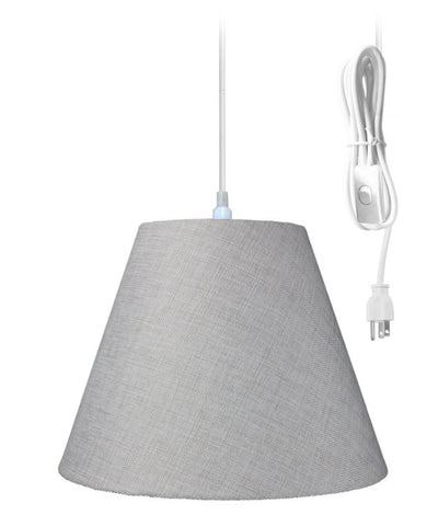 0-000493>Swag Pendant Plug-In One Light Khaki Burlap Shade