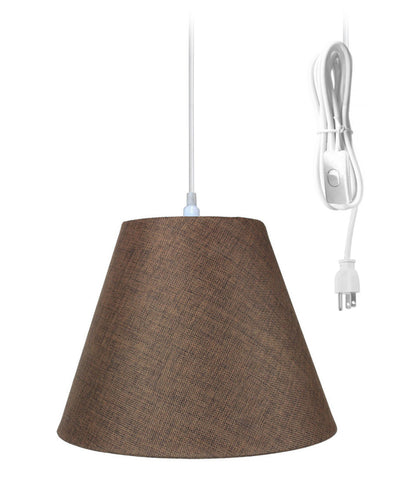 0-000231>1-Light Plug In Swag Pendant Ceiling Light Chocolate Burlap Shade