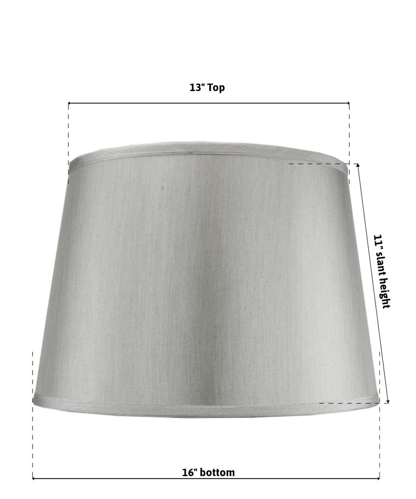 0-005000>13x16x11 SLIP UNO FITTER Bavarian Gray Fabric Floor Lampshade, Silver liner