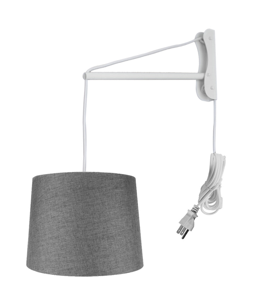 0-002713>MAST Plug-In Wall Mount Pendant, 1 Light White Cord/Arm, Granite Gray Shade 12x14x10