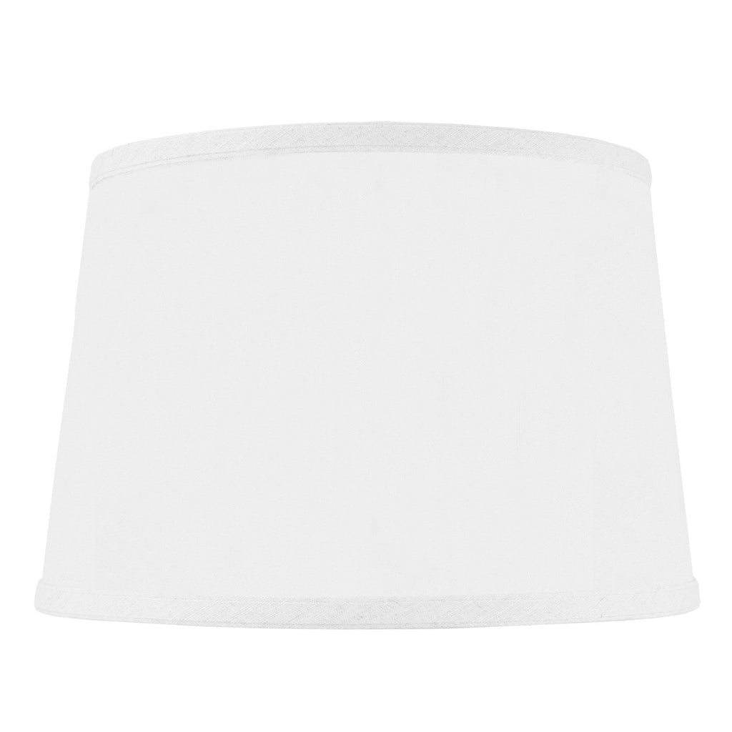 0-000016>10x12x8 SLIP UNO FITTER Hardback Shallow Drum Lamp Shade White Linen