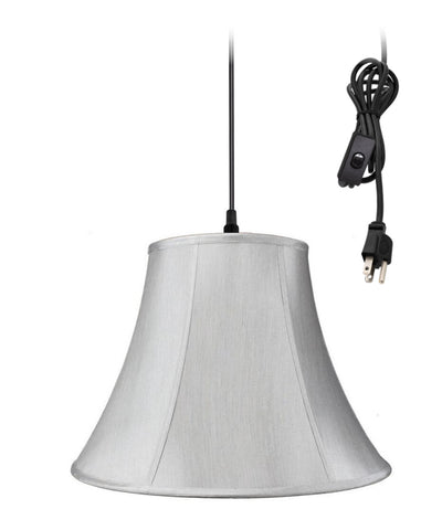 0-002000>1-Light Plug In Swag Pendant Lamp Grey Shade