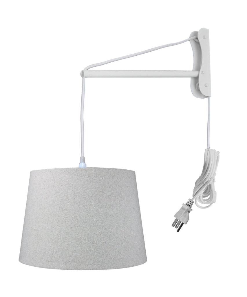 0-002900>MAST Plug-In Wall Mount Pendant, 1 Light White Cord/Arm, Sand Linen Shade 13x16x11
