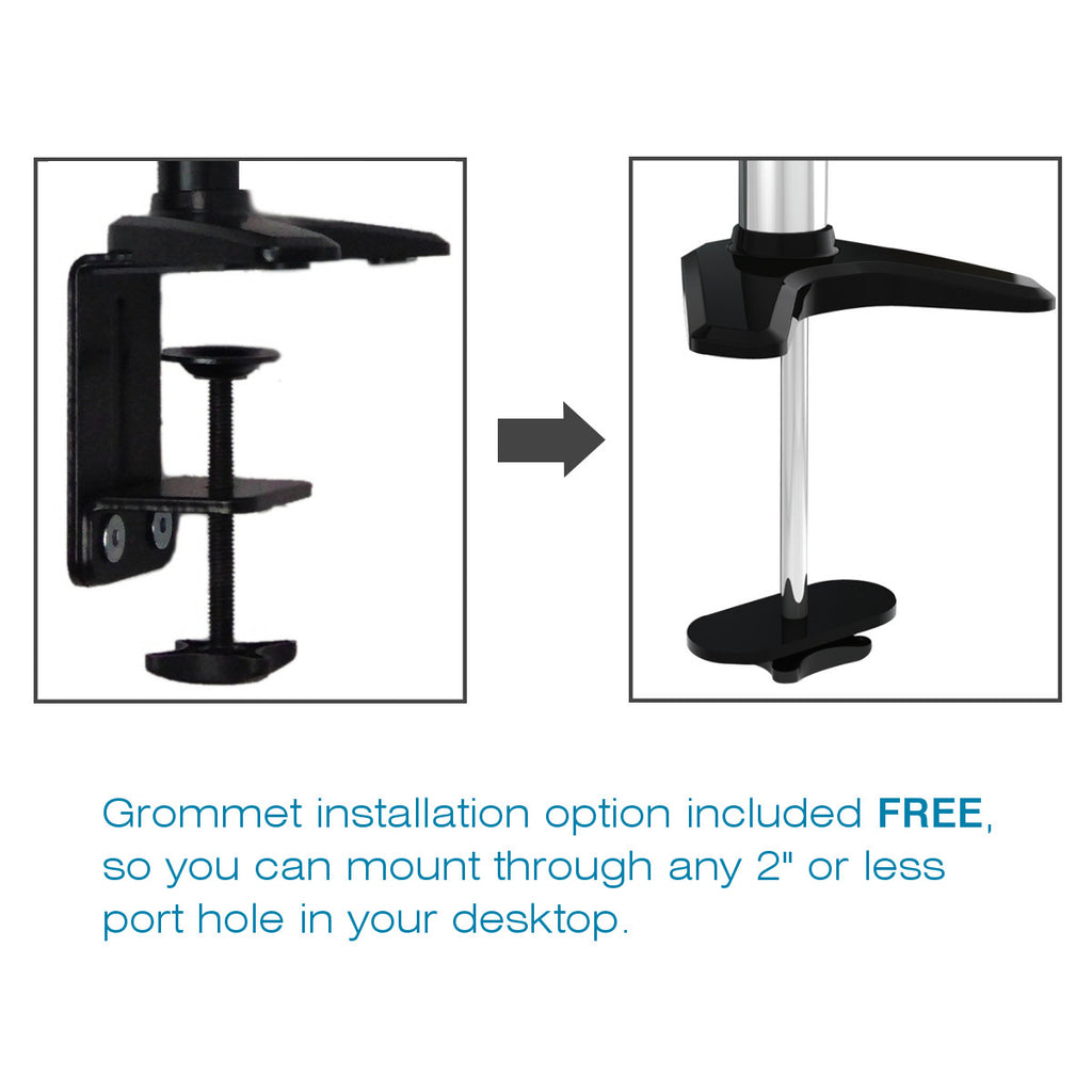 0-002018>Sit-Stand Monitor Arm: Extended Single Air-Assist Arm Black