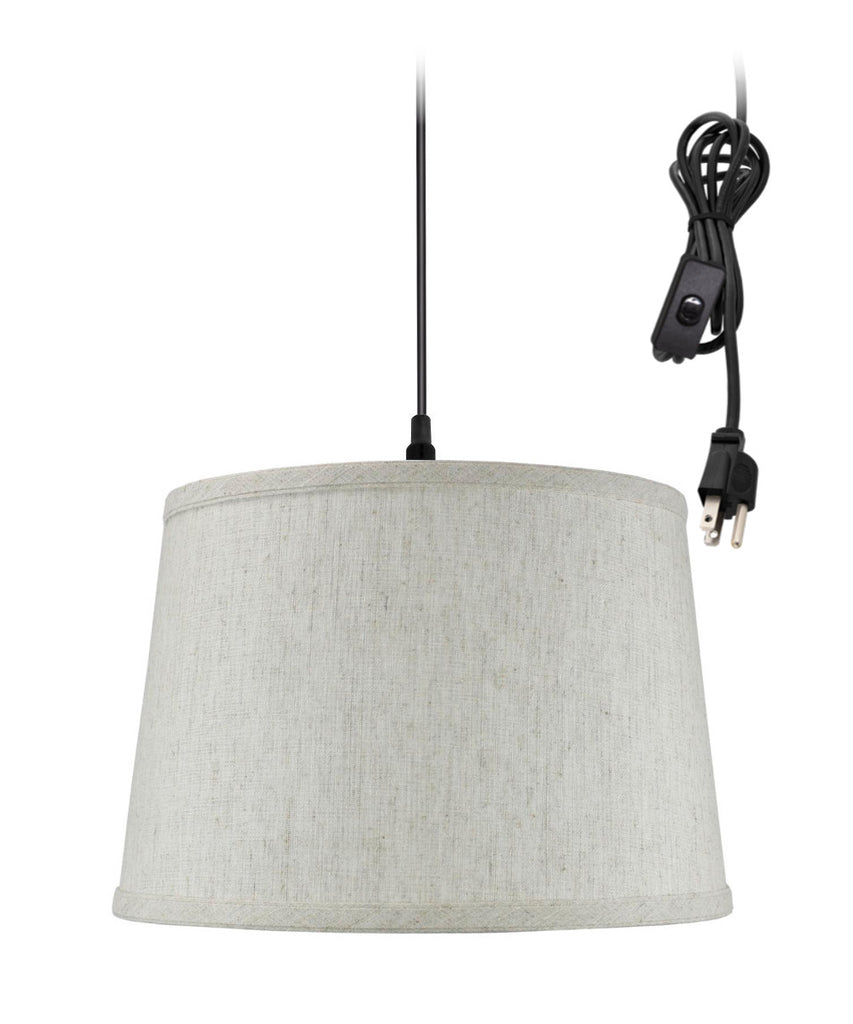 0-002000>Shallow Drum 1 Light Swag Plug-In Pendant Hanging Lamp 10x12x8 Textured
