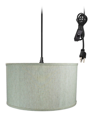 0-002000>1-Light Plug In Swag Pendant Ceiling Light Textured Oatmeal Shade