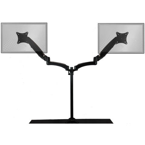 0-000918>Sit-Stand Monitor Arm: Extended Dual Air-Assist Arms Black
