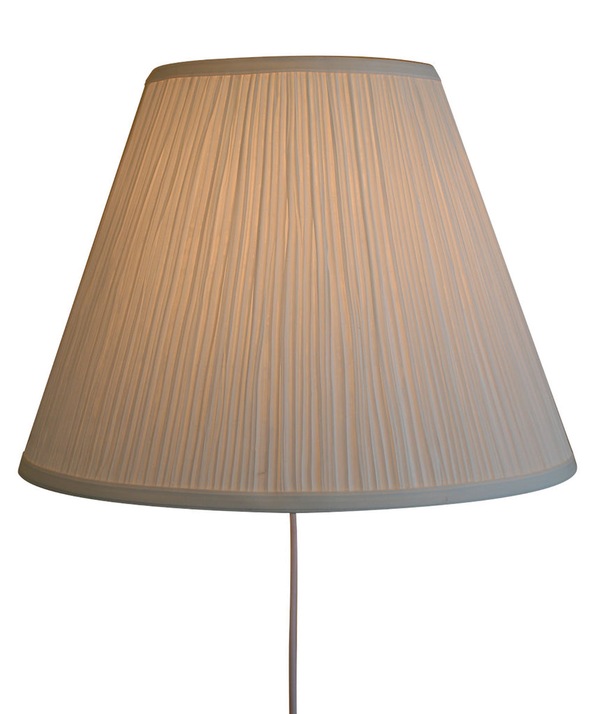Floating Shade Plug-In Wall Light White Mushroom Pleat 8x16x12