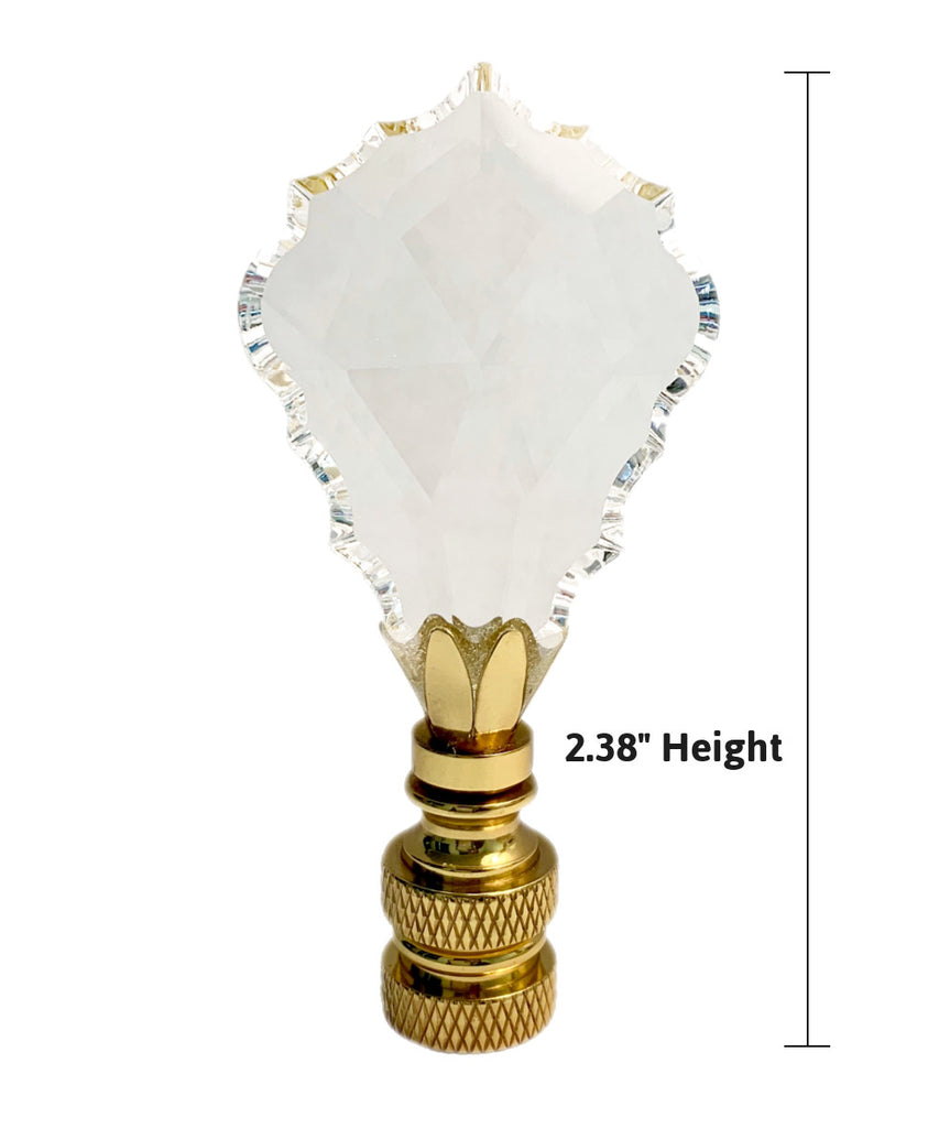 "Crystal Gothic Cross Lamp Finial Polished Brass Knurled Base 2.75""h"