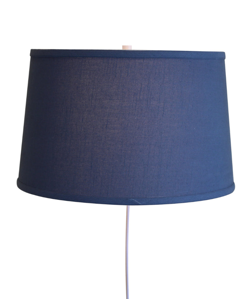 0-000856>Floating Shade Plug-In Wall Light Shallow Drum Hard Back Textured Slate Blue